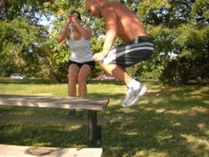 Box Jumps on a Picnic Table